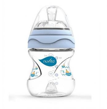 Бутылочка для кормления Nuvita Mimic 0м+, 150мл, антиколиковая, голубая