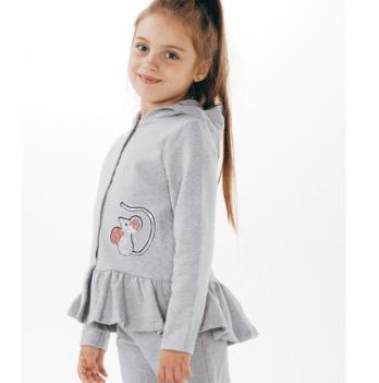 Кофта с капюшоном Smil для девочек Серый меланж 2-6 лет