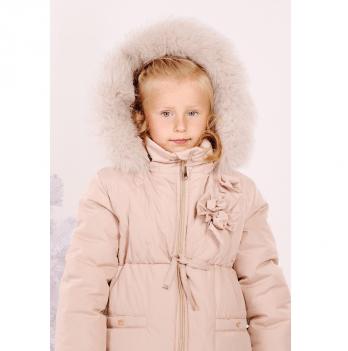 Куртка зимняя для девочки Модный карапуз Ваниль, бежевая