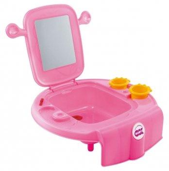Умывальник детский Okbaby Space, с безопасным зеркалом, розовый