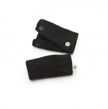 Теплые накладки на ручку коляски Модный карапуз флис Черный 03-00685