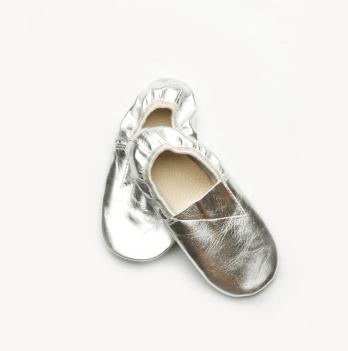 Чешки кожаные детские Модный карапуз, серебрянные