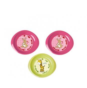 Набор мелких тарелочек Nuvita 6м+, 3шт. (розовые и салатовая)