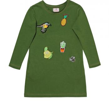 Платье с аппликацией для девочки Модный карапуз, зеленое