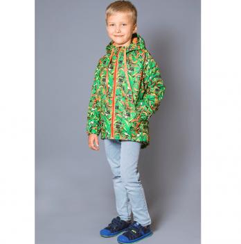Куртка-ветровка на флисе для мальчика, Модный карапуз, зеленая с оранжевым