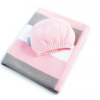 Плед вязаный Малыш и шапочка Idea 8-29909 розовый 70х90 см