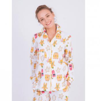 Пижама женская фланелевая Pjmood Пряники белая с принтом