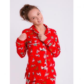 Пижама фланелевая женская Pjmood красная с принтом