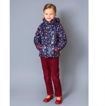 Куртка-жилет для девочки Модный карапуз, темно-синяя с розочками