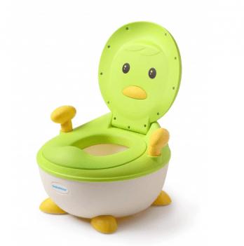 Горшок Babyhood, Пингвин, с полиуретановым кольцом, зеленый