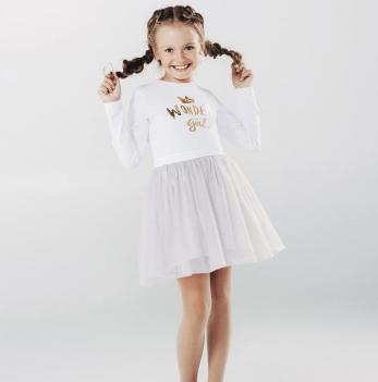 Платье для девочки, белое, SMIL