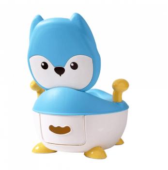 Горшок Babyhood, Лисица, с полиуретановым кольцом, голубой