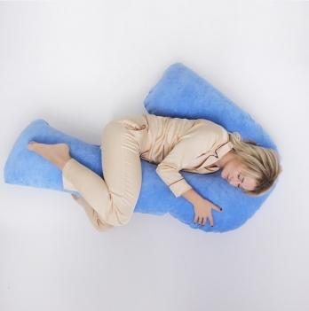 Подушка для беременных модель Сладкий сон Мои Подушки, наволочка велюр голубой