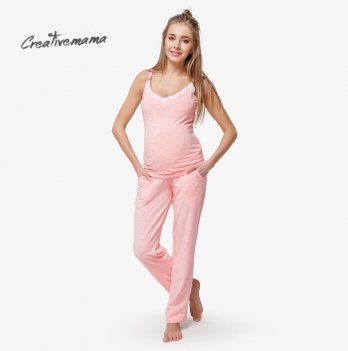 Пижама для беременных и кормящих мам Creative Mama, Peach Coton (хлопок)