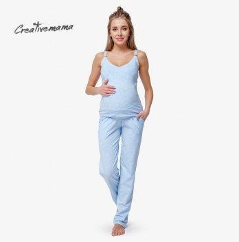 Пижама для беременных и кормящих мам Creative Mama, Blue Coton (хлопок)