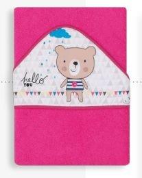 Полотенце-уголок Interbaby Osito Hello, розовое
