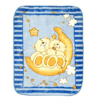 Одеяло детское Golden Spring Мишка, велюр, 100 х 100см, голубое