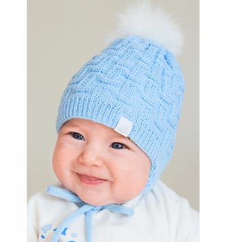 Шапочка вязаная для новорожденного мальчика Модный карапуз, голубая