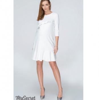 Платье с воланами для беременных и кормящих мам MySecret, молочное