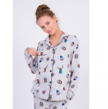 Пижама фланелевая женская Pjmood серая с принтом