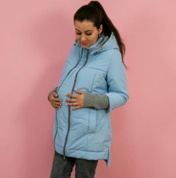 Слингокуртка еврозима 3 в 1 для беременных и кормящих мам Nurmes Lullababe голубой