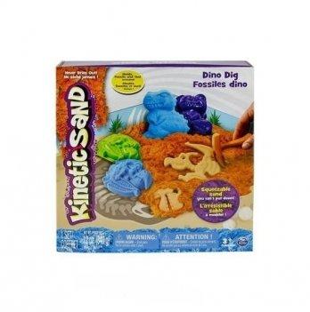 Песок для детского творчества Wacky-Tivities Kinetic Sand Dino (голубой, коричневый, аксессуары, 340 г)