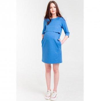 Платье для беременных и кормящих мам White Rabbit Simple, васильковое