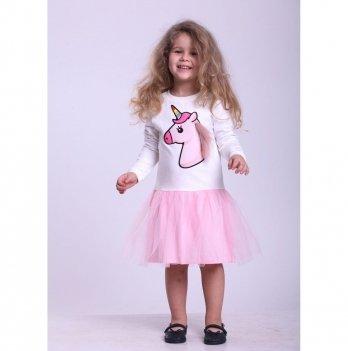 Детское платье Vidoli Молочный с розовым G-18808W