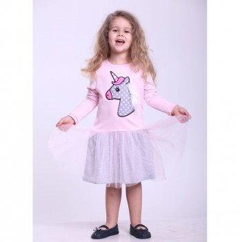 Детское платье Vidoli Розовый с серым G-18808W