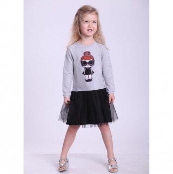 Детское платье Vidoli Серый с черным G-19819W-1