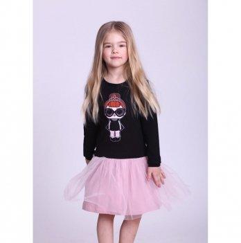 Детское платье Vidoli Черный с пудрой G-19819W-1