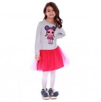 Детское платье Vidoli Серый с малиновым G-19818W-1