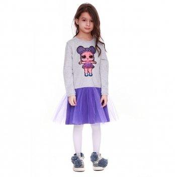 Детское платье Vidoli Серый с фиолетовым G-19818W-1