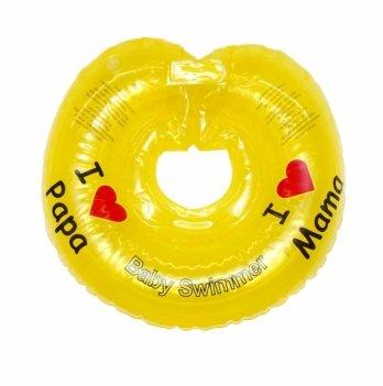 Круг на шею BabySwimmer Я люблю, желтый с погремушками для детей 6-36 кг