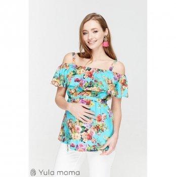 Блузка для беременных и кормящих мам MySecret, принт цветы на аквамарине