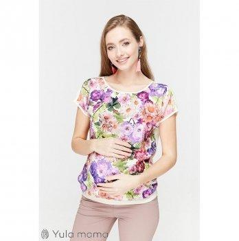 Блузка оверсайз для беременных и кормящих мам MySecret, экрю с яркими цветами
