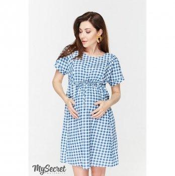 Платье для беременных и кормящих мам MySecret, из тонкого джинса, в клеточку