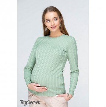 Лонгслив MySecret для беременных и кормящих мам, из фактурного трикотажа, светло-зеленый