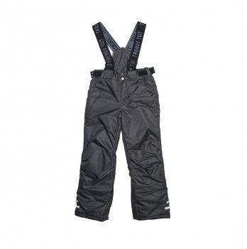 Зимние штаны для мальчика Модный карапуз, на подтяжках, графит