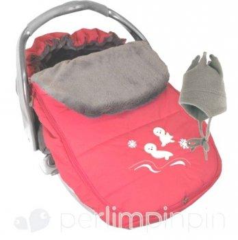 Конверт - чехол Perlimpinpin на меху для автомобильного кресла и коляски коралл